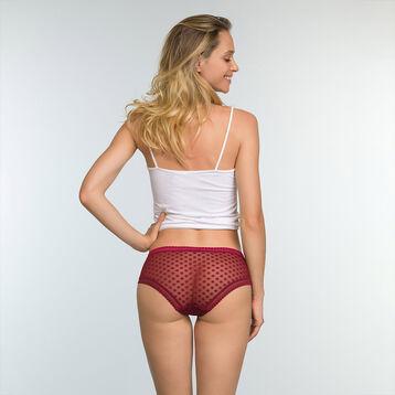 Women's polka dot mesh shorty in Cherry Red Dotty Mesh Panty Box, , DIM