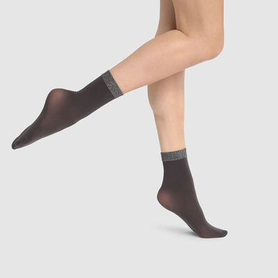 Dim Style 23D fancy ankle socks in charcoal grey with lurex ankle band, , DIM