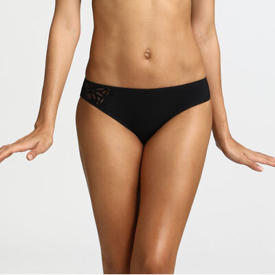 Generous MOD embroidered microfibre bikini knickers in black, , DIM