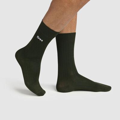 Men's ribbed sock Khaki Khaki Made in France Dim, , DIM
