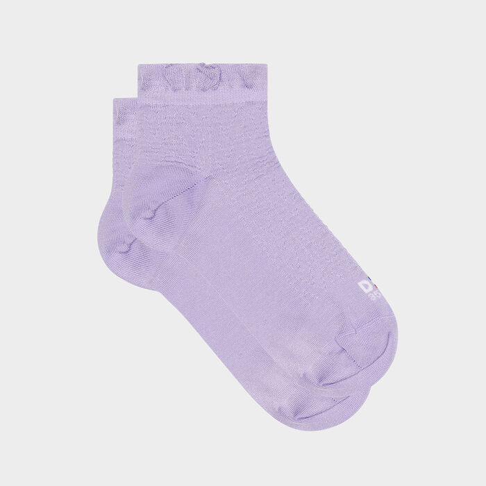 Women's sock in Scottish thread with flying edge Lilac Dim Made in France, , DIM
