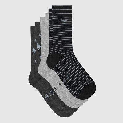 Pack of 3 pairs of men's socks with boat design Cotton Grey Style, , DIM