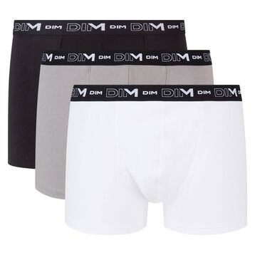 Pack of 3 pairs of black, grey and white stretch cotton trunks for men, , DIM