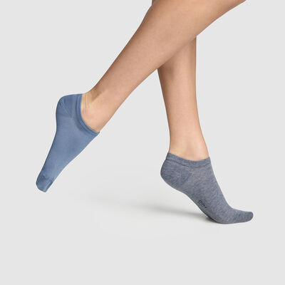 Pack of  2 pairs of Midnight Blue Women's Short Socks Basic Cotton, , DIM