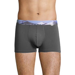 Stretch cotton trunks with printed waistband Dark Grey, , DIM