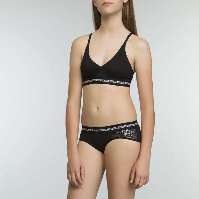 Triangle Sports Bra in Black stretch cotton for Girl Dim Sport, , DIM