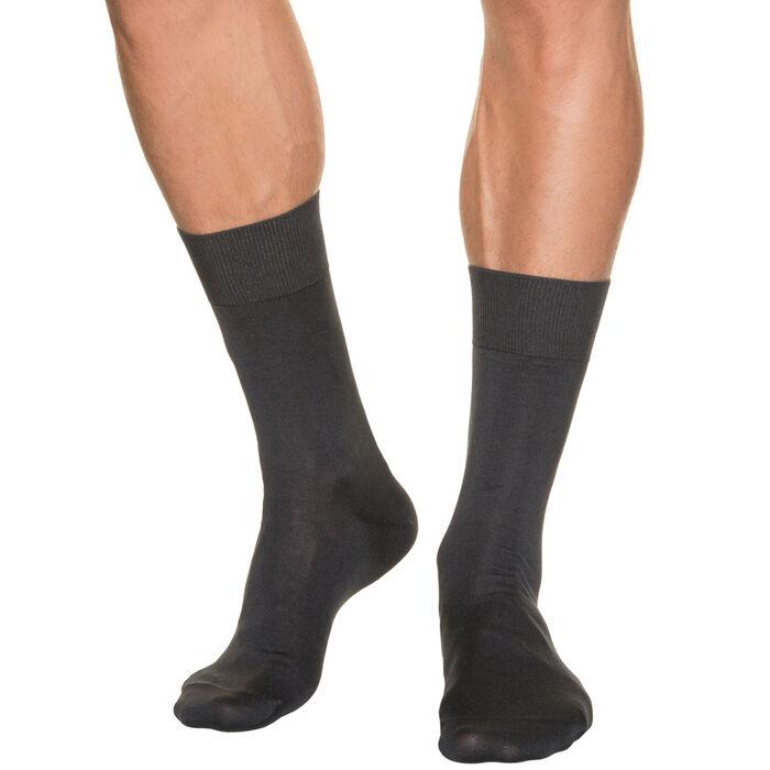 Men's dark grey lisle socks, , DIM