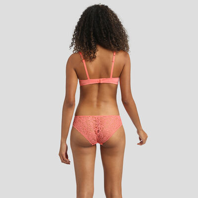 Dim Sublim Lace coral pink push-up triangle bra , , DIM
