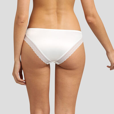 Dim Satin Line satin and lace pearly white panties, , DIM