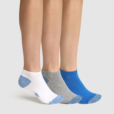 Pack of  3 pairs of mix and match children's socks Blue Cotton Style, , DIM