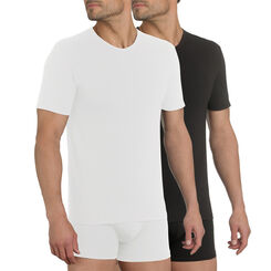 Pack of 2 white and black X-Temp V-neck T-shirts, , DIM