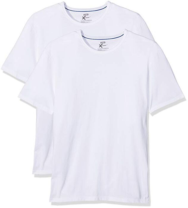 Pack of 2 white X-Temp crew-neck T-shirts, , DIM