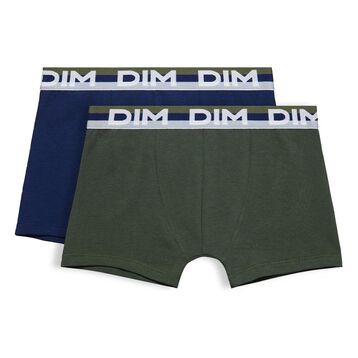 Set of 2 Eco DIM Boy military green and blue boxers - DIM