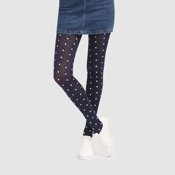 Retro polka dot opaque navy blue tights 40D Dim Style, , DIM