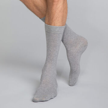 Mottled Grey Men's Crew Socks in cotton, , DIM