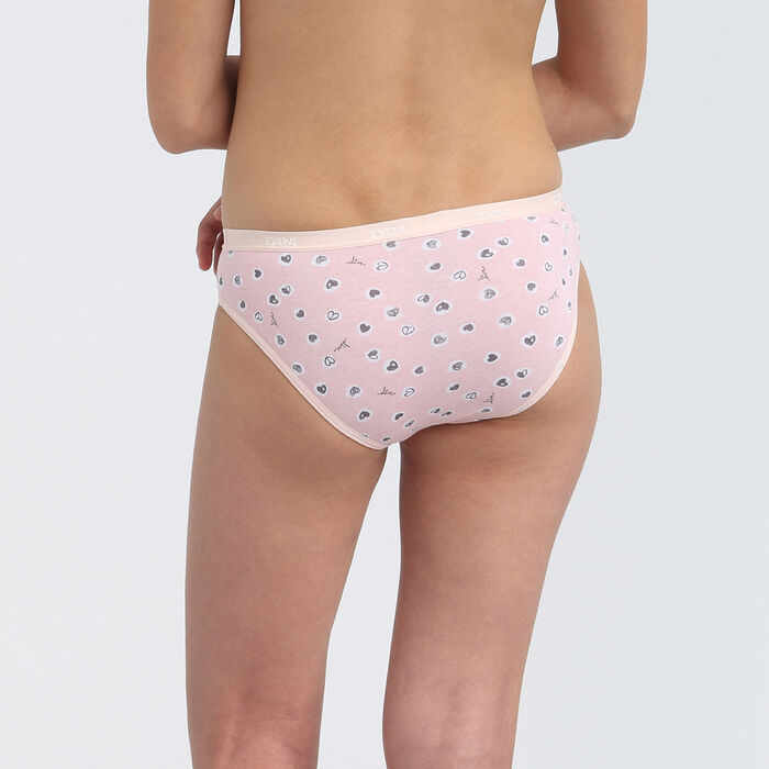 Les Pockets set of 3 girls' pink stretch cotton briefs with heart print, , DIM