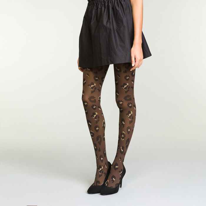 Women's brown tights in Velvet Leopard Print, , DIM
