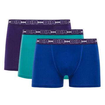 Lot de 3 boxers bleus et violet auburn Coton Stretch-DIM