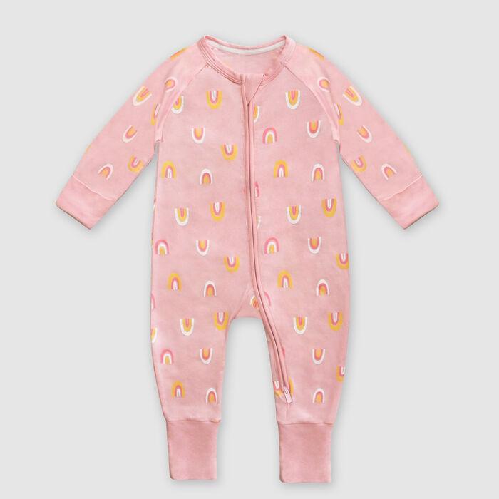 Dim Baby Rainbow print pink stretch cotton baby pyjama with zipper, , DIM