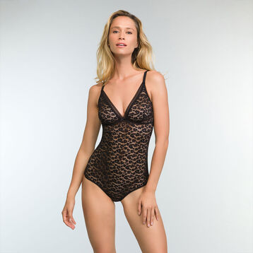 Black laced and printed bodysuit Leopard Line, , DIM
