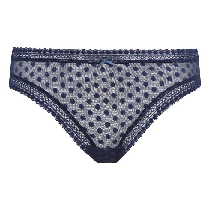 Infinite Blue brief with polka dots Dotty Mesh, , DIM
