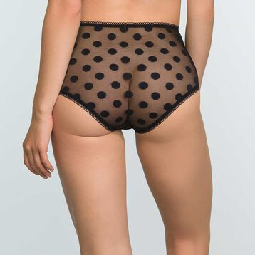 Black laced high-waist brief with polka dot print Dotty Line, , DIM