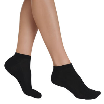 Pack of 2 pairs of black Light Coton invisible sock liners for women, , DIM