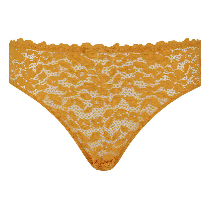 Blooming Lace Dim briefs in Yellow gold lace and microfibre, , DIM