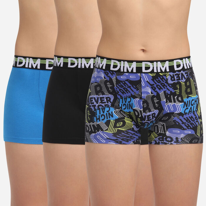 3 pack black and navy stretch cotton trunks Dim Boy Eco Dim 3D, , DIM