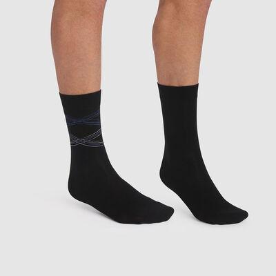 Lot de 2 paires de chaussettes hommes imprimé lignes noir Coton Style, , DIM