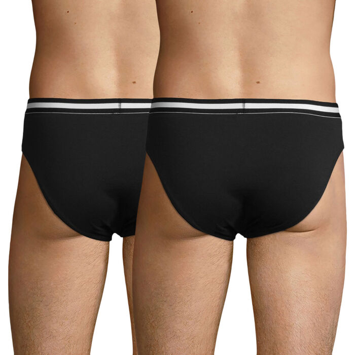 Pack of 2 black EcoDIM stretch cotton briefs, , DIM