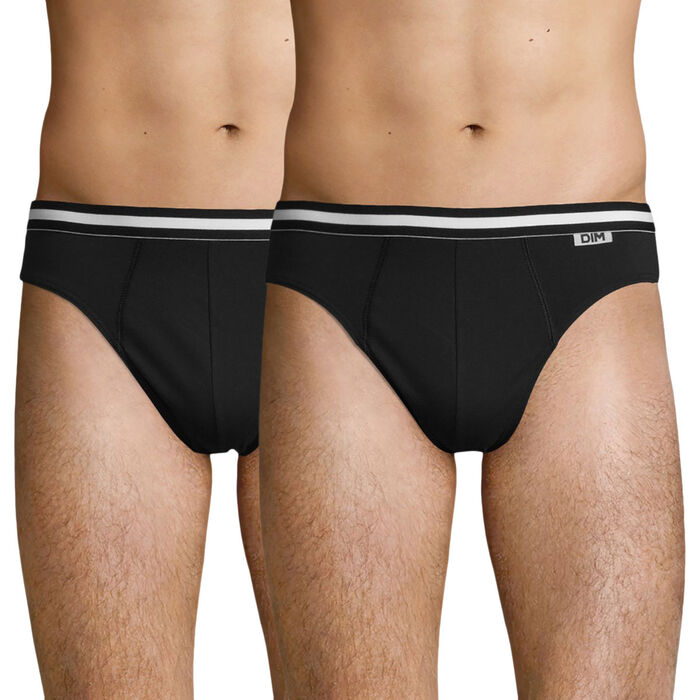 Lot de 2 slips noirs EcoDIM en coton stretch, , DIM