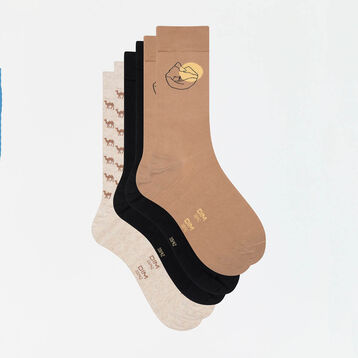 Lot de 3 paires de chaussettes hommes imprimé désert beige Coton Style, , DIM