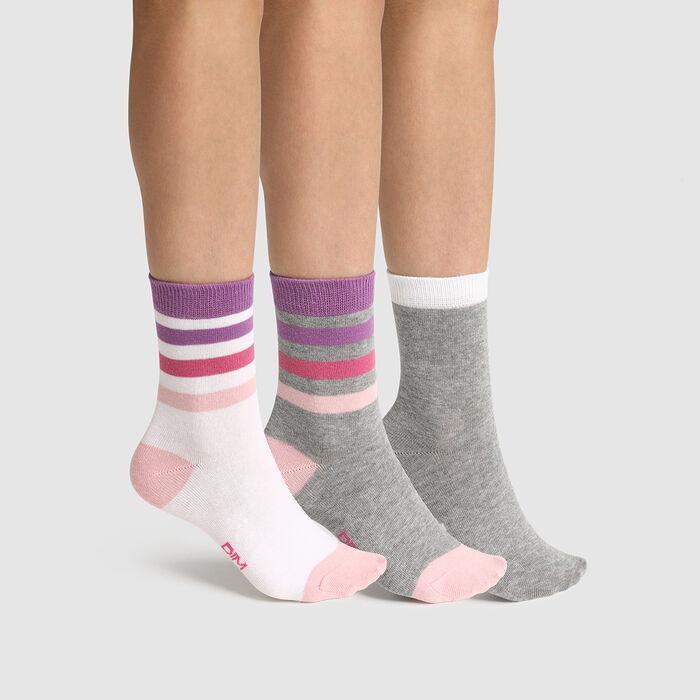 Lot de 3 paires de chaussettes enfant rayures Rose Gris Coton Style, , DIM