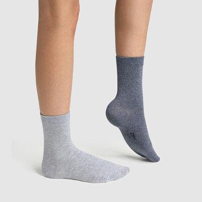 Pack de 2 pares de calcetines para niño de algodón lurex azul Coton Style, , DIM