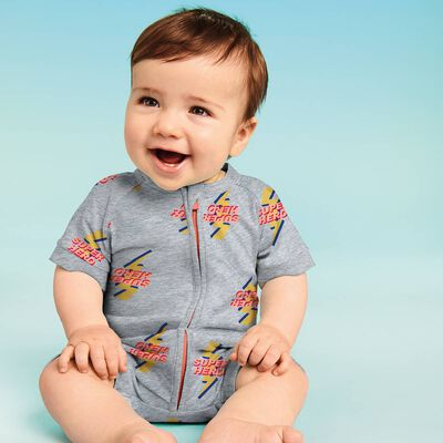 Zipped romper in cotton stretch with Super Hero print Dim Baby, , DIM
