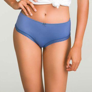 Shorty en microfibre Bleu Porcelaine femme Micro Lace Bar à Culottes, , DIM