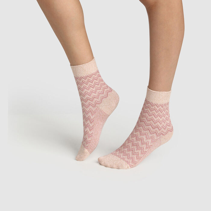 Women's cotton herringbone lurex pink sock Made in France, , DIM