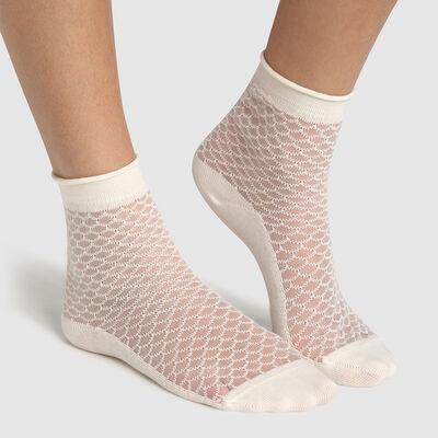 Calcetines bajos de algodón estampado escamas transparentes marfil Made in France, , DIM