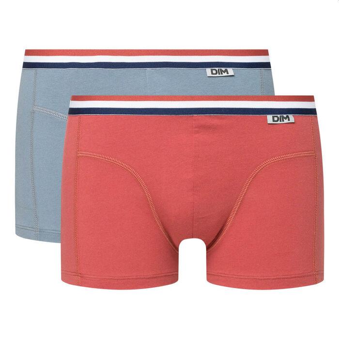 Lot de 2 boxers coton stretch ceinture tricolore rouge gris EcoDIM, , DIM