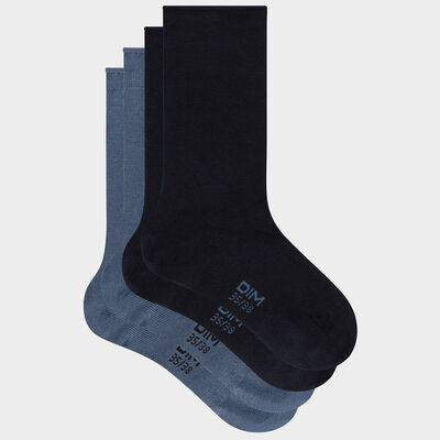 Pack of  2 pairs of women's cotton modal socks Navy Blue Dim, , DIM
