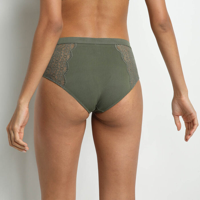 Jolie Madame High-waisted Green Khaki Microfiber and Lace Briefs, , DIM