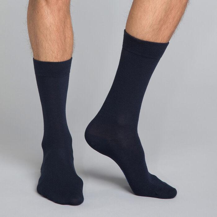 Navy blue men's socks in cotton - Basic Coton, , DIM