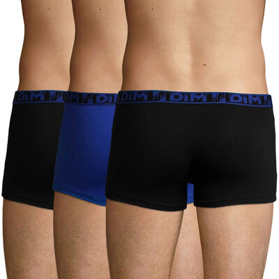 3 Pack stretch cotton Black and Navy Blue Ecodim Fashion trunks, , DIM