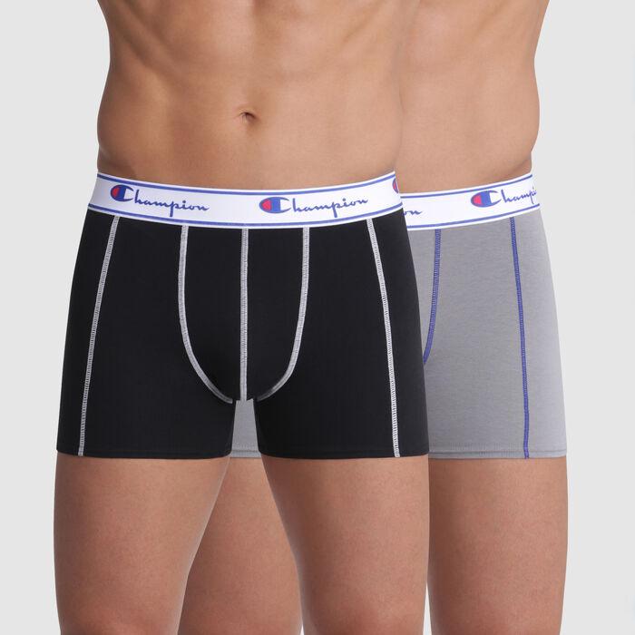 Lot de 2 boxers noir et gris coutures contrastées - Champion, , DIM
