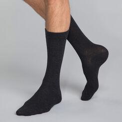 Mi-chaussettes coton X3 anthracite Homme Basic Coton-DIM