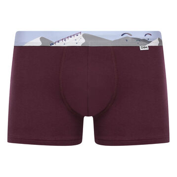 Stretch cotton trunks with printed waistband Purple Grape, , DIM