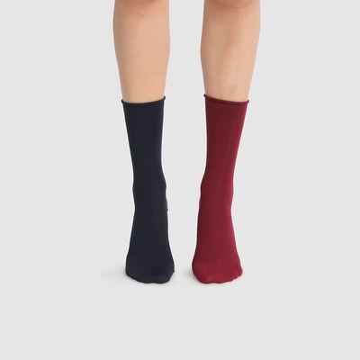 Pack de 2 pares de calcetines para mujer burdeos y azul marino Dim Modal, , DIM