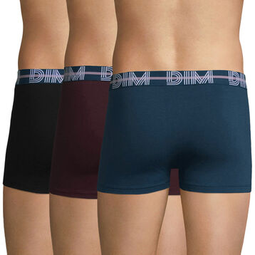3-pack blue, black and aubergine purple trunks - Dim Powerful , , DIM