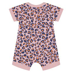 Zipped romper in cotton stretch with animal print Dim Baby, , DIM